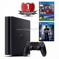 Combo Máy chơi game Sony Playstation PS4 Slim CUH-2006A B01 - 500GB + 2 đĩa game (PES 2017 + UNCHARTED 4)