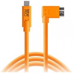 Dây Tether Tools - TetherPro USB C to 3.0 Micro B Right Angle - Màu Cam - Dài 4.6m